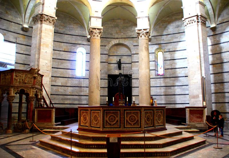 PISA, ITALY - CIRCA FEBRUARY 2018: Baptistry font at the Square of Miracles royalty free stock photography