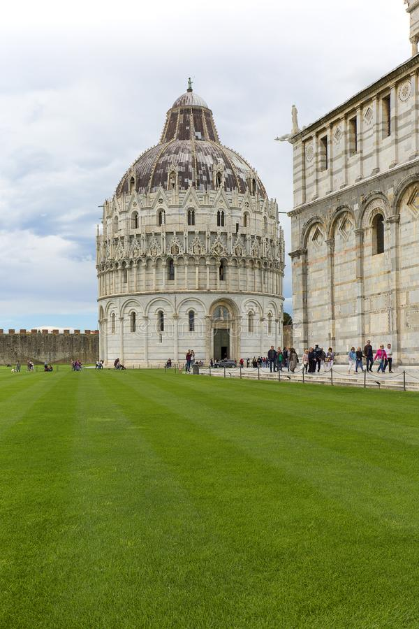 View on Pisa Cathedral, and Pisa Baptistery of St. John, Pisa, Italy stock image