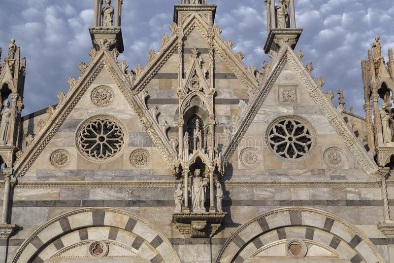 Fragment of the facade of the church of Santa Maria della Spina, Pisa, Italy royalty free stock photos