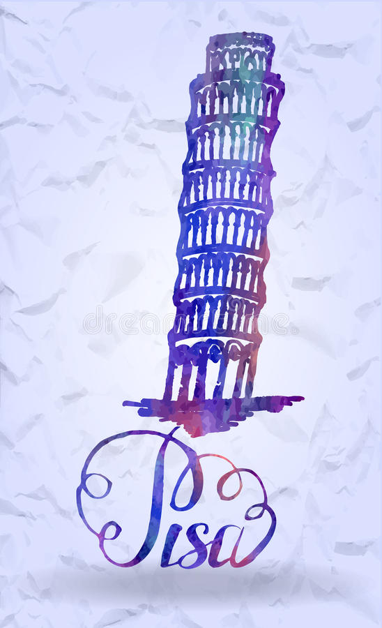 Pisa label with hand drawn Leaning tower of Pisa, lettering Pisa with watercolor fill. Vector illustration, Pisa label with hand drawn Leaning tower of Pisa royalty free illustration