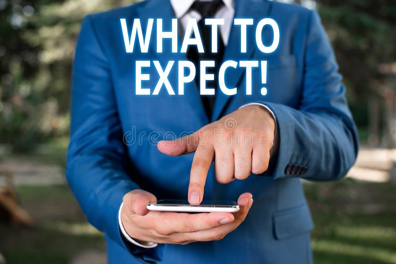 Pisa? nutowemu seansowi Czym Oczekiwa? Biznesowa fotografia pokazuje pyta? o uwzgl?dnieniu jako prawdopodobnie co? zdarza? si? zd zdjęcie stock
