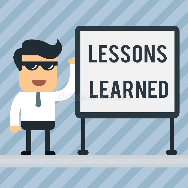 Pisa? nutowych pokazuje lekcjach Uczy? si? Biznesowa fotografia pokazuje informacj? odbija pozytywnych i negatywnych do?wiadczeni royalty ilustracja