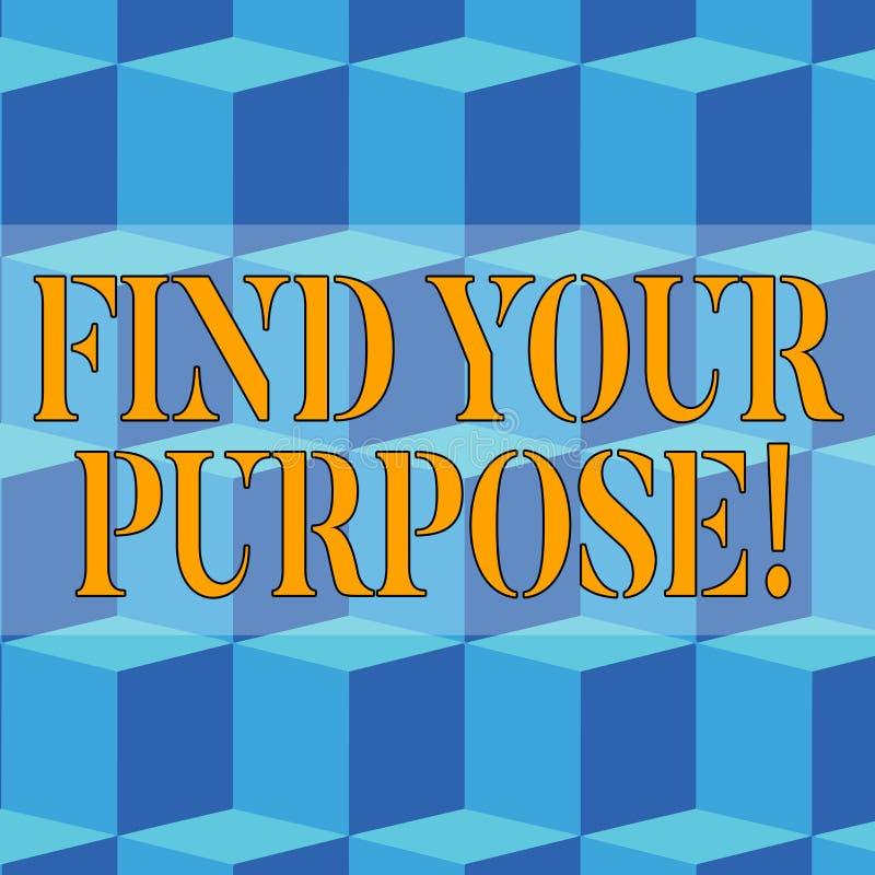Pisa? nutowym seansie Znajduje Tw?j Purpose Biznesowa fotografia pokazuje pow?d dla co? zrobi dla lub czego wci?? istnieje ilustracja wektor