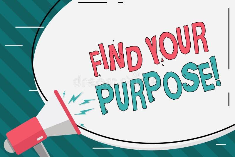 Pisa? nutowym seansie Znajduje Tw?j Purpose Biznesowa fotografia pokazuje pow?d dla co? zrobi dla lub czego wci?? istnieje ilustracji