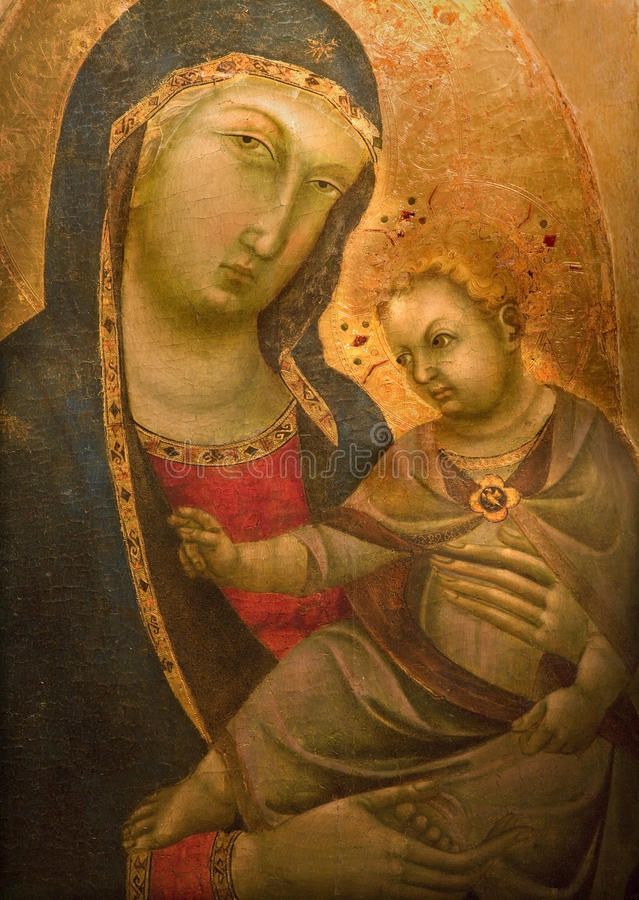 Pisa - Old icon of Holy Mary mother of God. From church Chiesa e convento di San Torpe on March 17, 2010 in Pisa, Italy stock images
