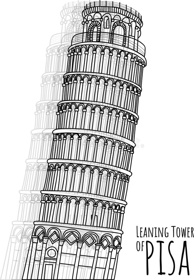 PISA ręka rysująca dalej odizolowywa tło, punkty zwrotni, Włochy symbol obrazy royalty free