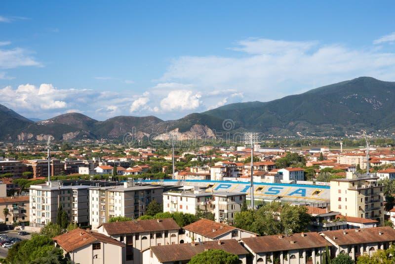Pisa-Stadtbild mit Arena Garibaldi Stadium in Toskana, Italien stockbilder