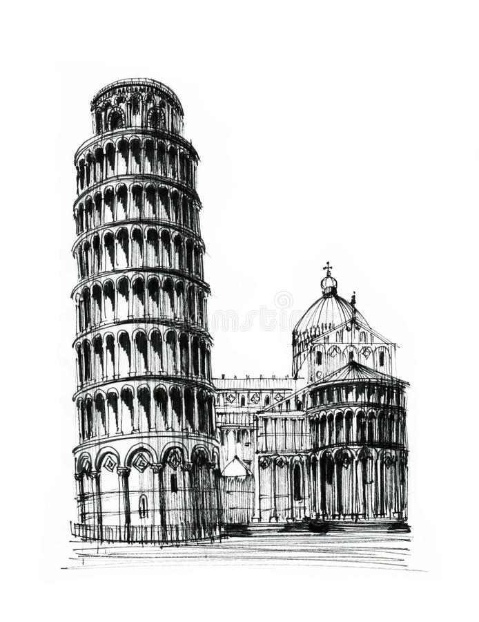 pisa torn royaltyfri illustrationer