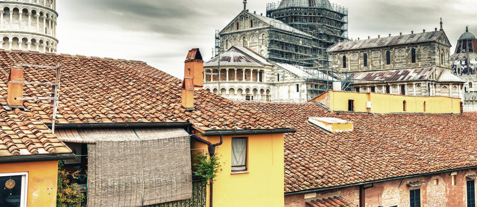 Pisa Tower and Cathedral from ancient medieval city walls stock photo
