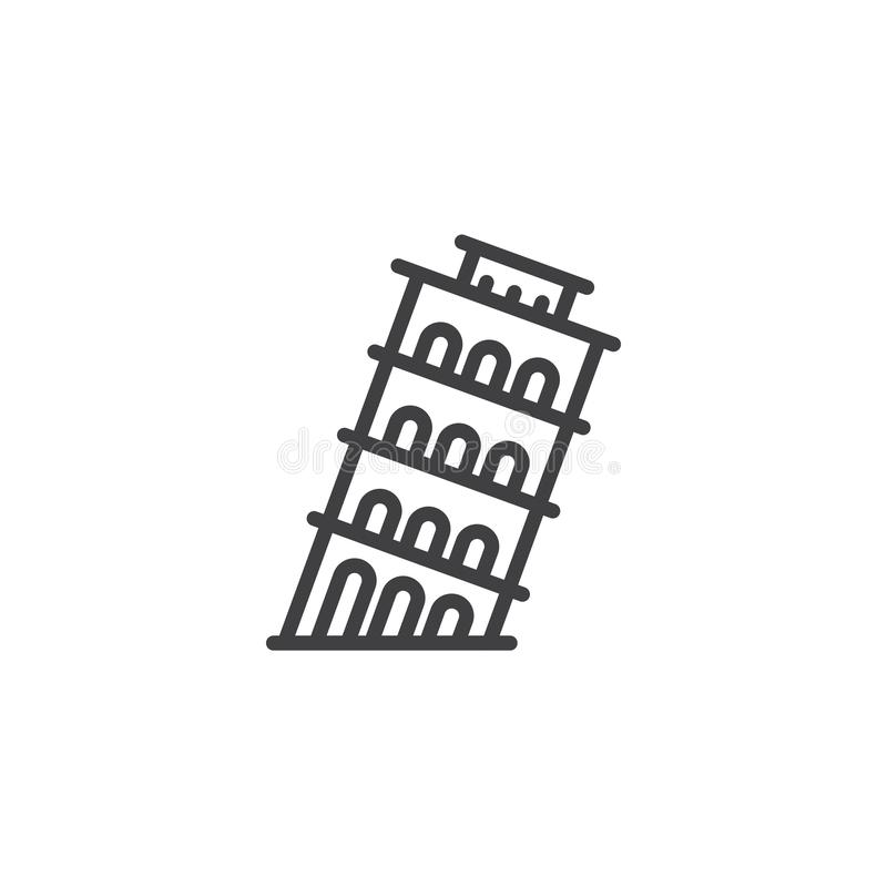 Pisa tower line icon stock illustration