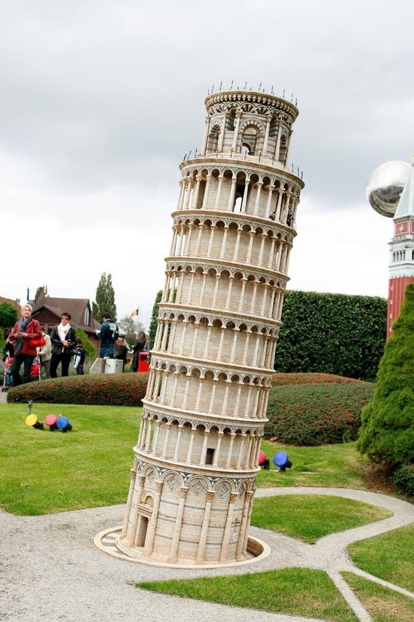 Pisa tower in Mini Europe park. BRUSSELS - OCTOBER 4: Miniature model of Pisa tower in Mini Europe park. October 4, 2009, Brussels, Belgium stock photos
