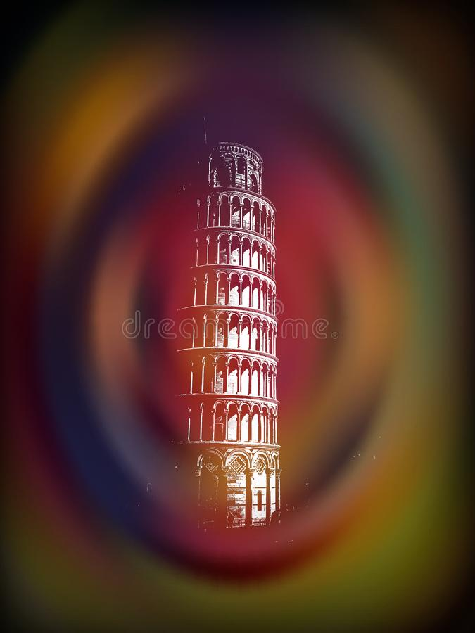 Pisa Tower in a vortex pop art. royalty free stock images