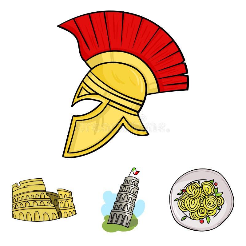Pisa-Turm, Teigwaren, Kolosseum, Legionnärsturzhelm Vector gesetzte Sammlungsikonen Italien-Landes in der Karikaturart Symbolvorr lizenzfreie abbildung