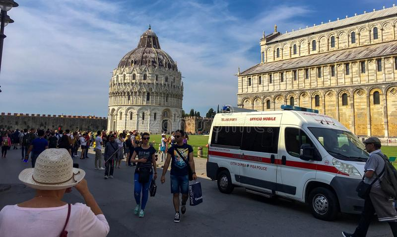 View of square of Miracles Pisa Italy stock image