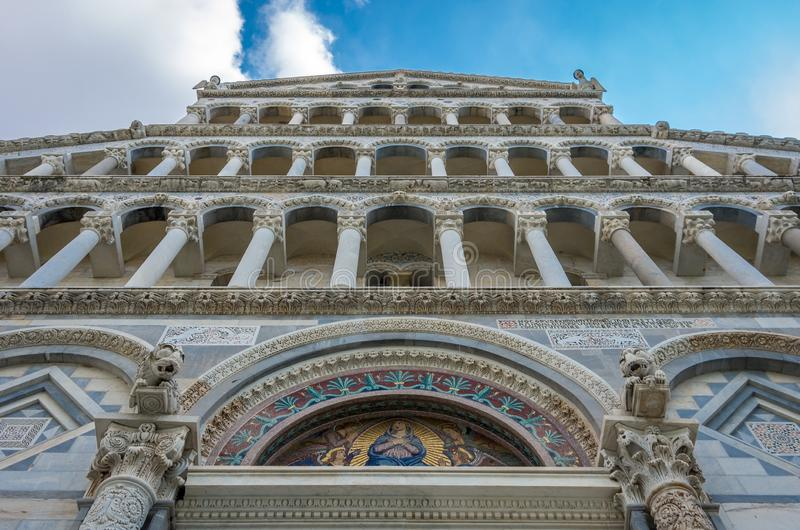 Pisa Tuscany Italy. September 9th, 2014. View of the Pisa Cathedral facade Santa Maria Assunta,architecture details stock images