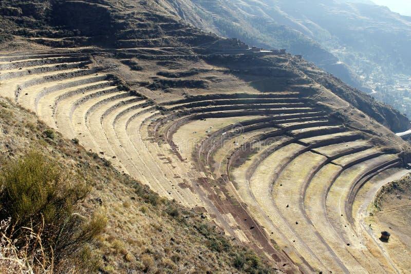 Pisac fördärvar, den sakrala dalen, Cusco, Peru. fotografering för bildbyråer