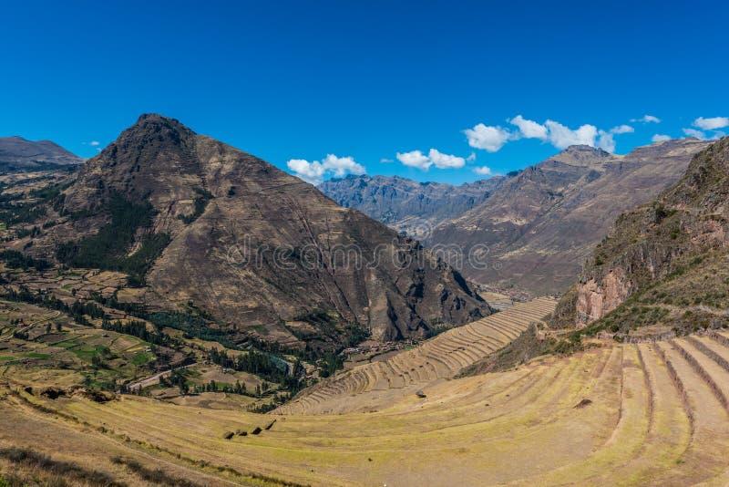 Pisac fördärvar peruanen Anderna Cuzco Peru royaltyfri foto