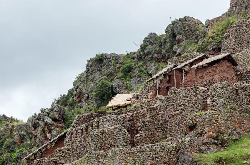 Pisac - Inca-ruïnes in de heilige vallei in de Peruviaanse Andes, stock afbeeldingen