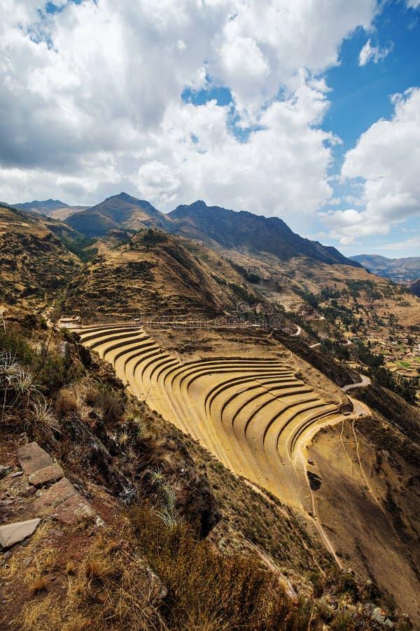 Pisac Inca ruins and terraces stock images