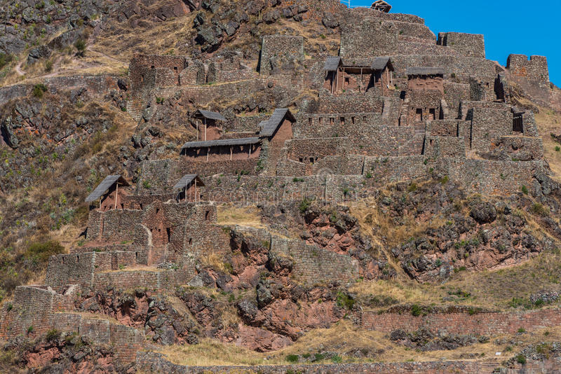 Pisac ruïneert de Peruviaanse Andes Cuzco Peru stock foto