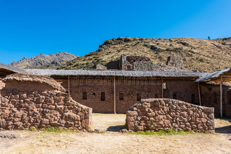 Pisac ruiniert peruanische Anden Cuzco Peru lizenzfreie stockbilder