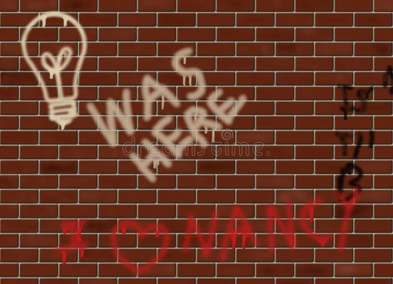 Pisania na ściana z cegieł ilustracji