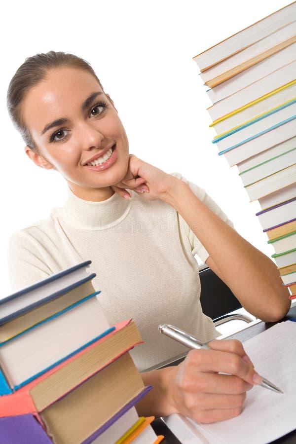 pisanie książki dziewczyny stołu zdjęcie stock