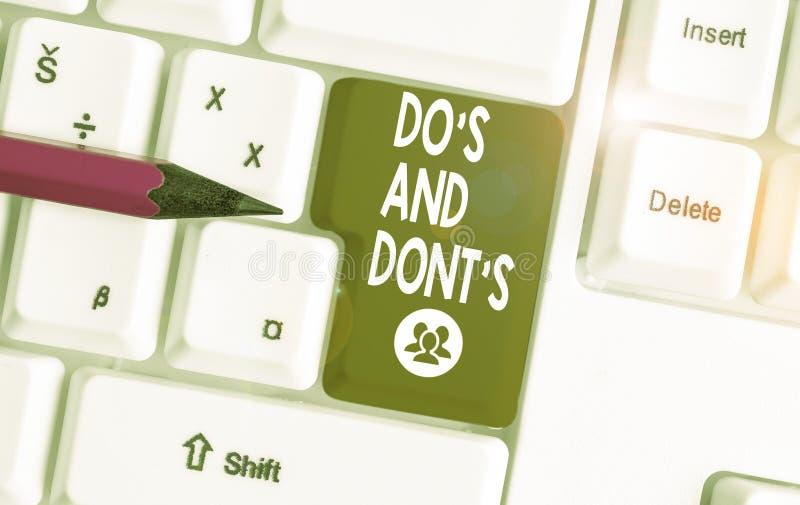 Pisanie tekstu odręcznego Do S i Don T Pojęcie Znaczenie Zasady lub zwyczaje dotyczące niektórych działań lub działań Białe pc zdjęcie stock