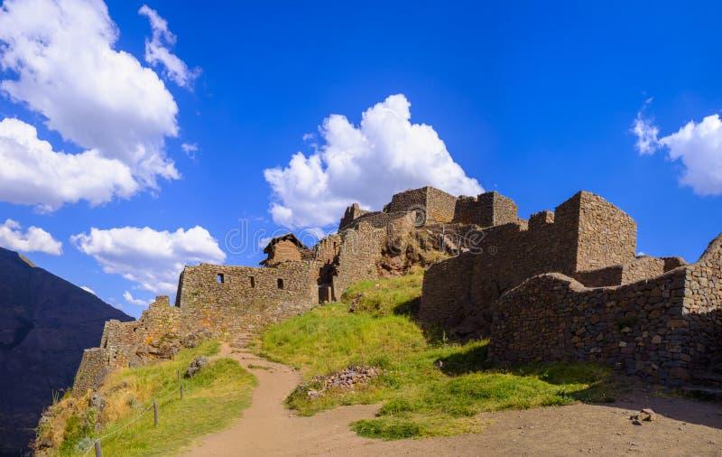 Pisaq印加人废墟在秘鲁 库存照片