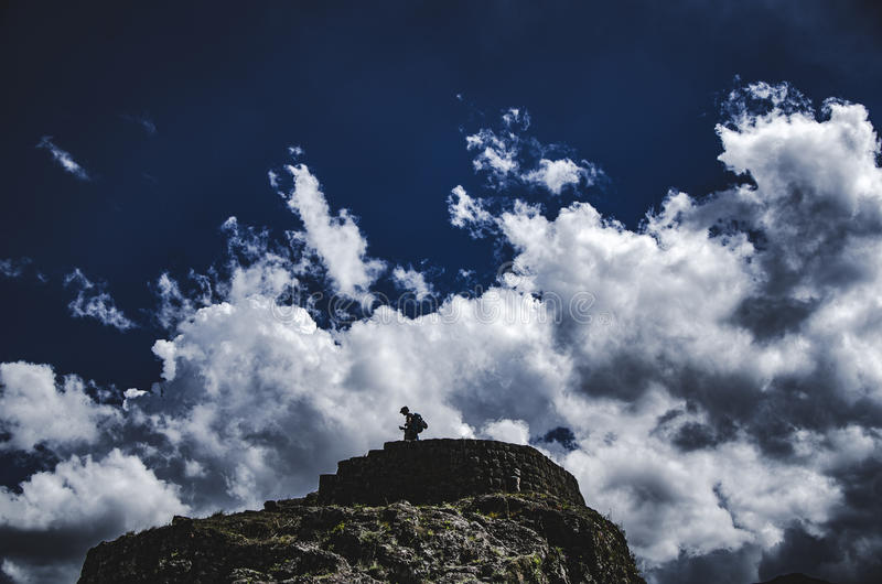 Pisaq,库斯科,秘鲁废墟  库存照片