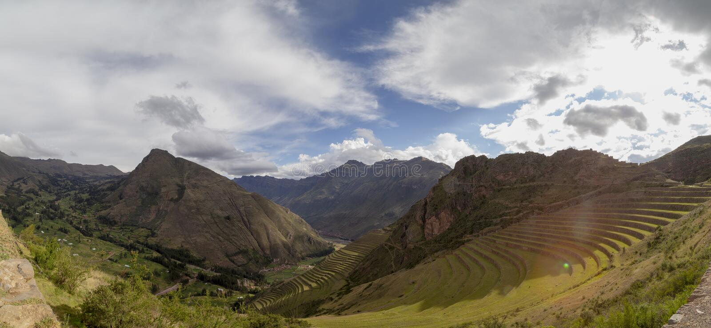 Pisaq, Ruïnes van Incan-vesting, Urubamba-Vallei, Peru stock foto