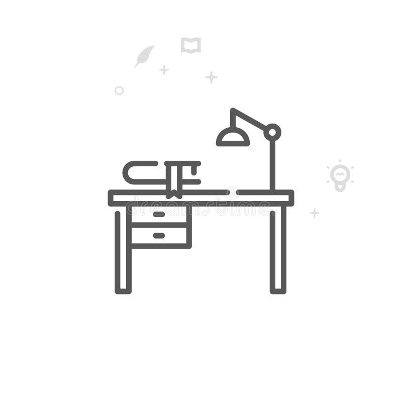 Pisarza biurko, miejsce pracy wektoru linii ikona, symbol, piktogram, znak Lekki abstrakcjonistyczny geometryczny tło Editable ud ilustracji