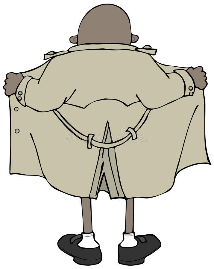 Pisca-pisca étnico masculino que veste um revestimento de trincheira ilustração do vetor