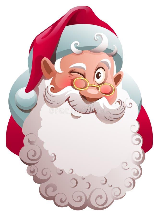 Piscadelas da cabeça de Santa Claus Vetor do divertimento do Feliz Natal ilustração do vetor