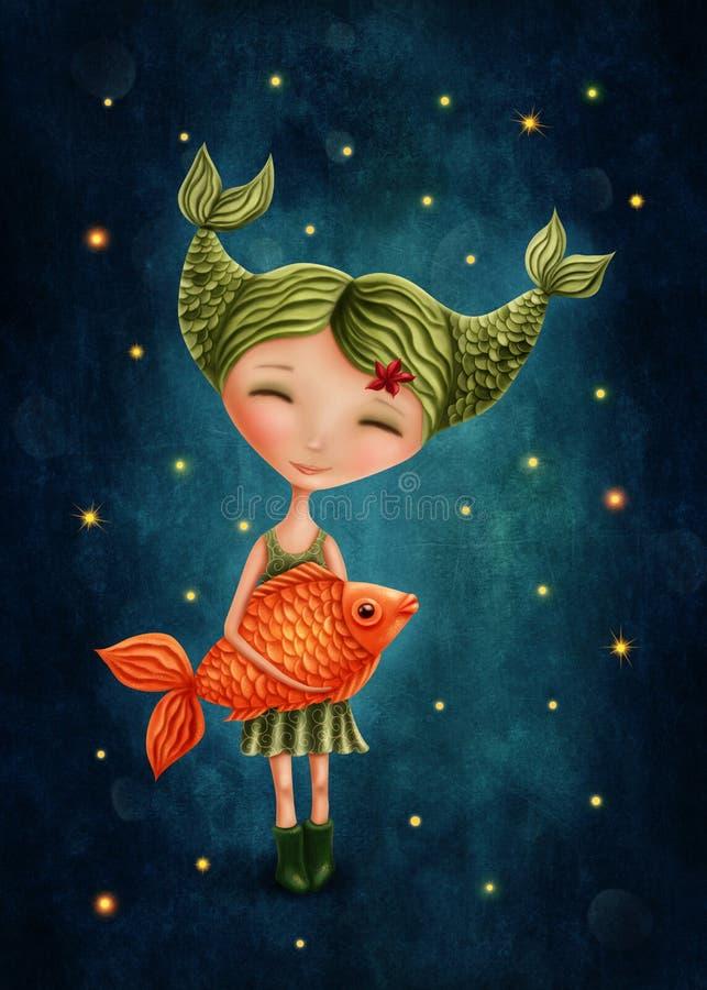 Pisces astrological sign girl. Illustration with a pisces astrological sign girl stock illustration