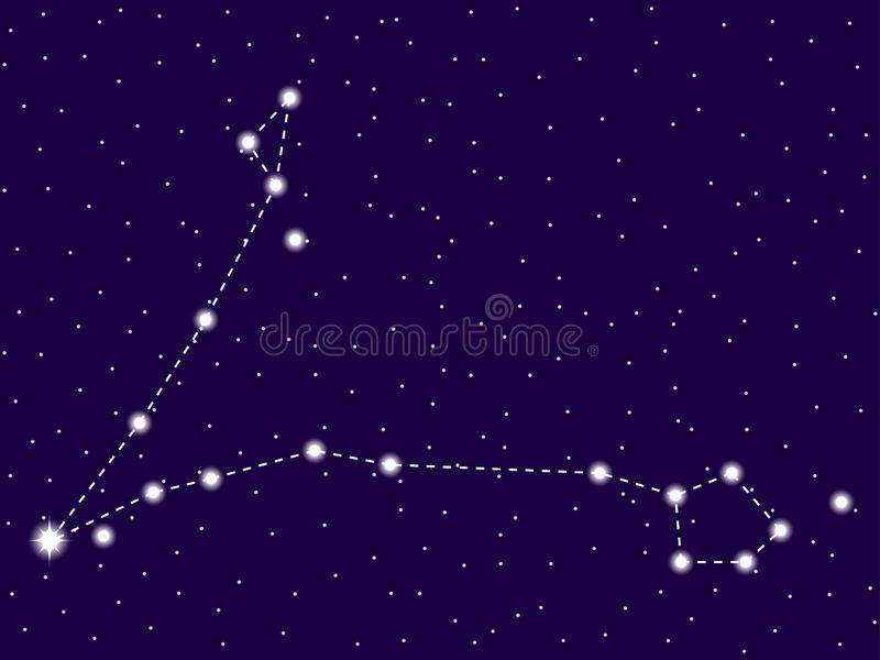 Pisces constellation. Starry night sky. Cluster of stars and galaxies. Deep space. Vector stock illustration