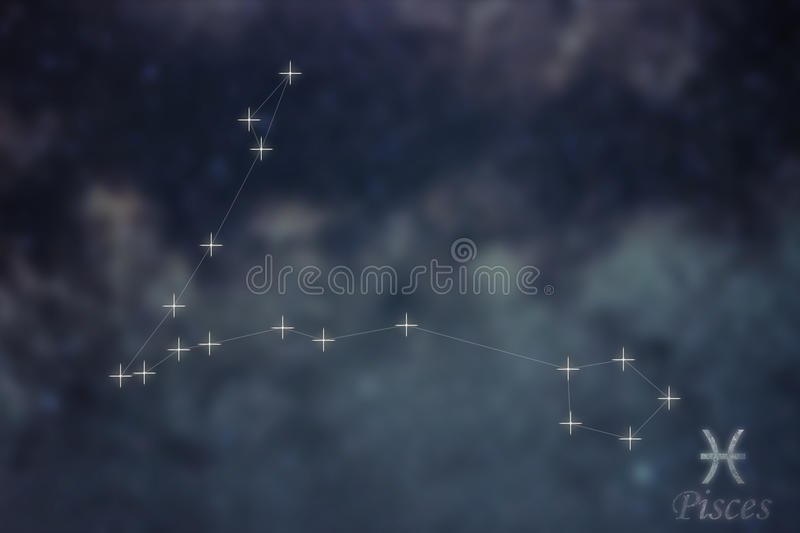 Pisces Constellation. Zodiac Sign Pisces constellation lines Gal. Axy background Zodiac Sign royalty free stock photos
