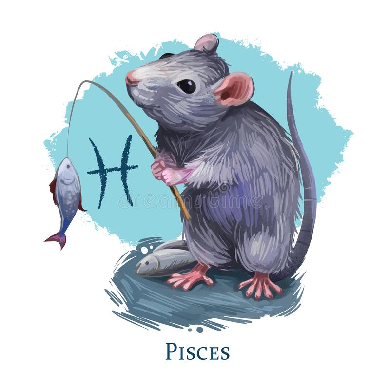 Pisces creative digital illustration of astrological sign. Rat or mouse symboll of 2020 year signs in zodiac. Horoscope water vector illustration