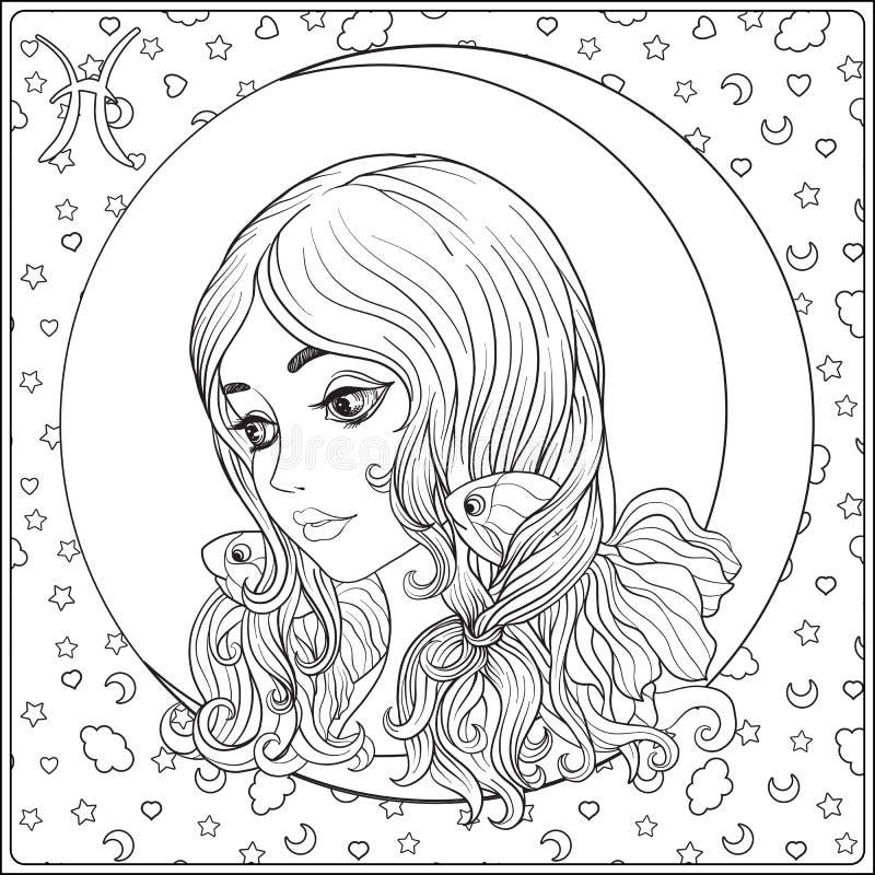 pisces En ung härlig flicka i form av en royaltyfri illustrationer