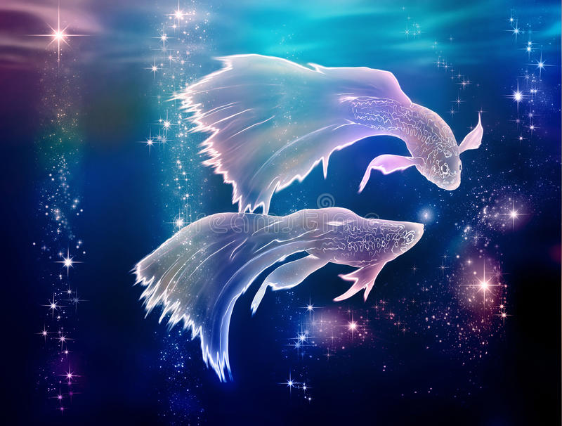 Pisces Fishes. Fairy tale begins where life began. Pisces is an astrological sign. They are floating on the Milky Way in Space