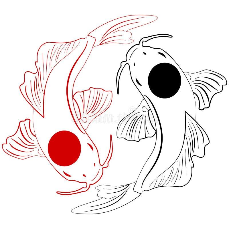 pisces fiska koien Kinesisk dragit klotter för karpar hand vektor illustrationer