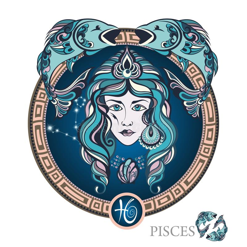 pisces grafika projekta znaka symboli/lów dwanaście różnorodny zodiak ilustracja wektor