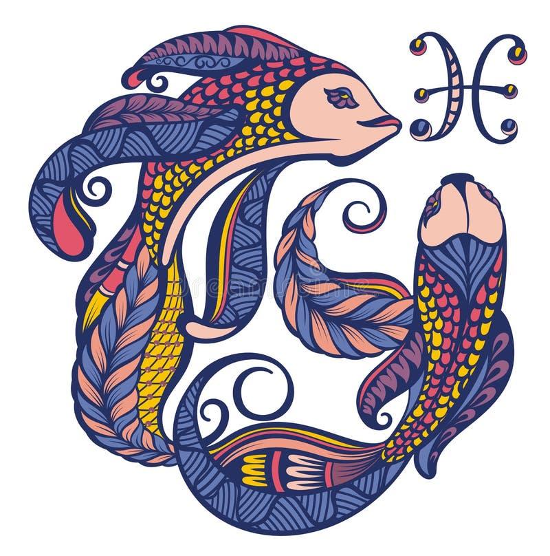 pisces Het teken van de dierenriem Astrologisch, horoscoopsymbool stock illustratie