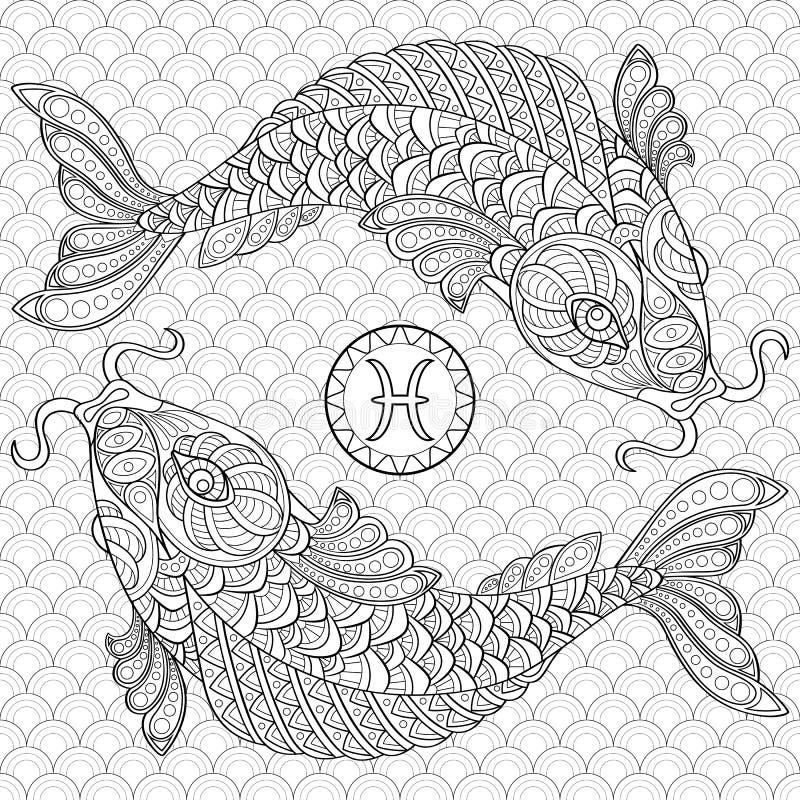 pisces koi рыб Китайские карпы Взрослая antistress страница расцветки иллюстрация штока