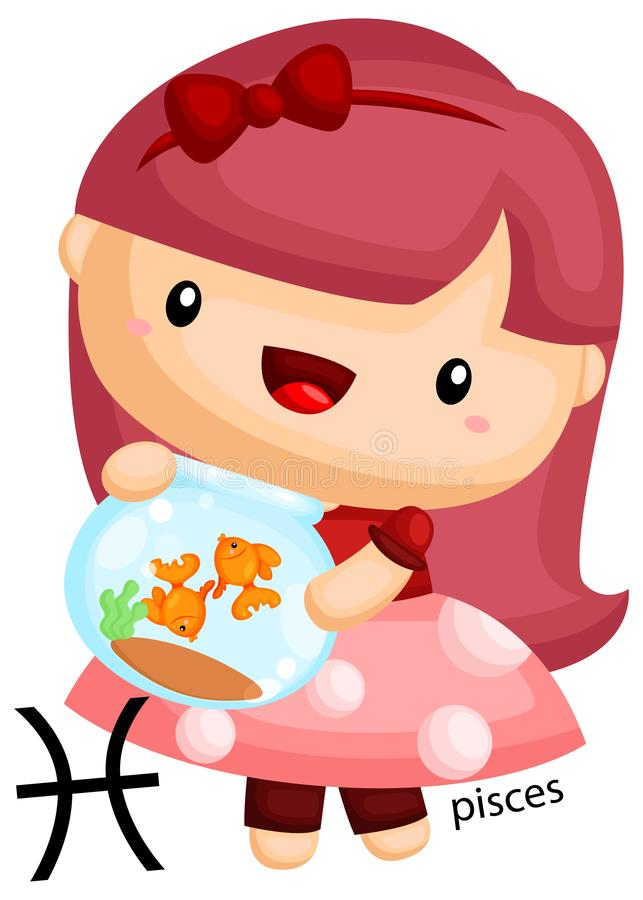 A pisces sign portrayed by a girl holding a goldfish stock illustration