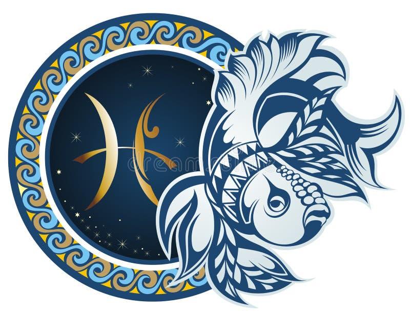 pisces Sinal do zodíaco ilustração royalty free