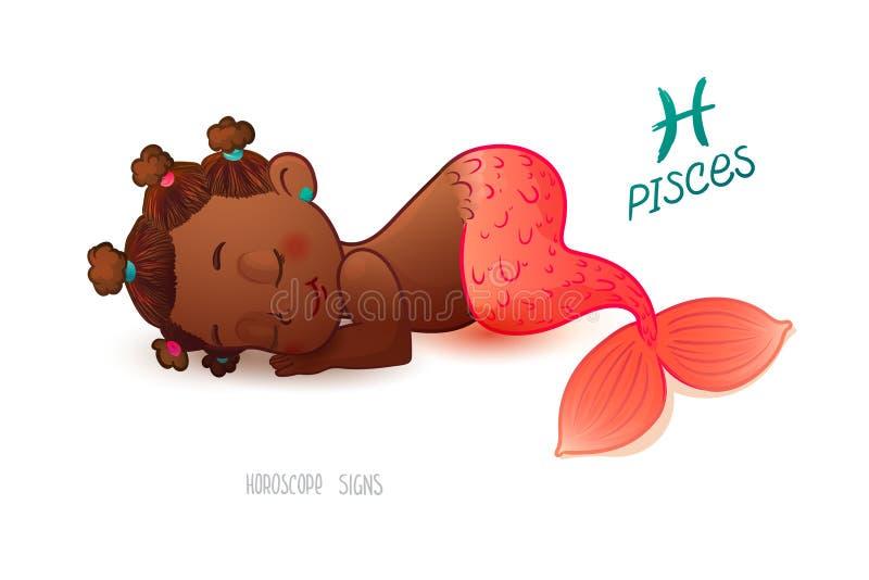 pisces teckenzodiac HoroskopteckenFISKARNA AfrikanAmericam sover den lilla sjöjungfrun på seaflooren Barnet ser söta drömmar stock illustrationer