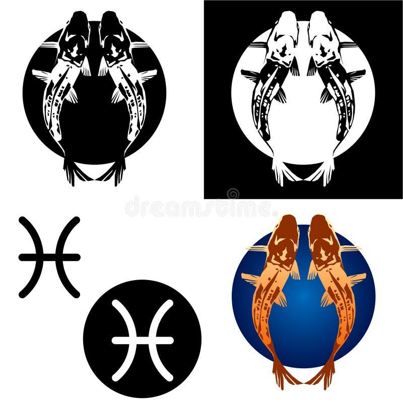 Pisces Zodiac Icon Set royalty free stock photos