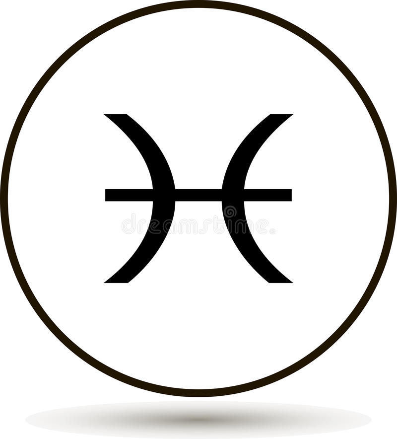 Pisces Zodiac Sign Astrological Symbol Icon In Circle Stock Vector