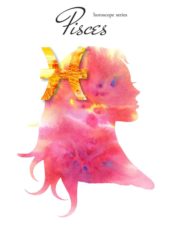 Pisces zodiac sign. Beautiful girl silhouette. Watercolor illustration. Horoscope series. royalty free illustration